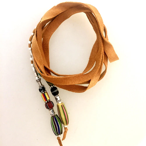 "Fine Leather and Beaded Hair Decoration ""Hair Ties"" 30ins African Trade Beads-"