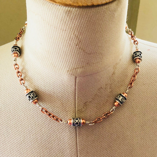 Copper, Lead-Free Pewter and Sterling Silver Necklace