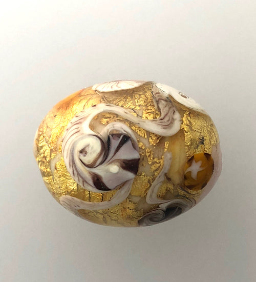 24 Ct Gold Leaf Lamp Work Bead Unset and Signed.