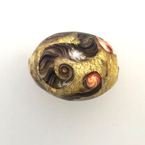 24 CT Gold Leaf in Lamp Work Bead Signed