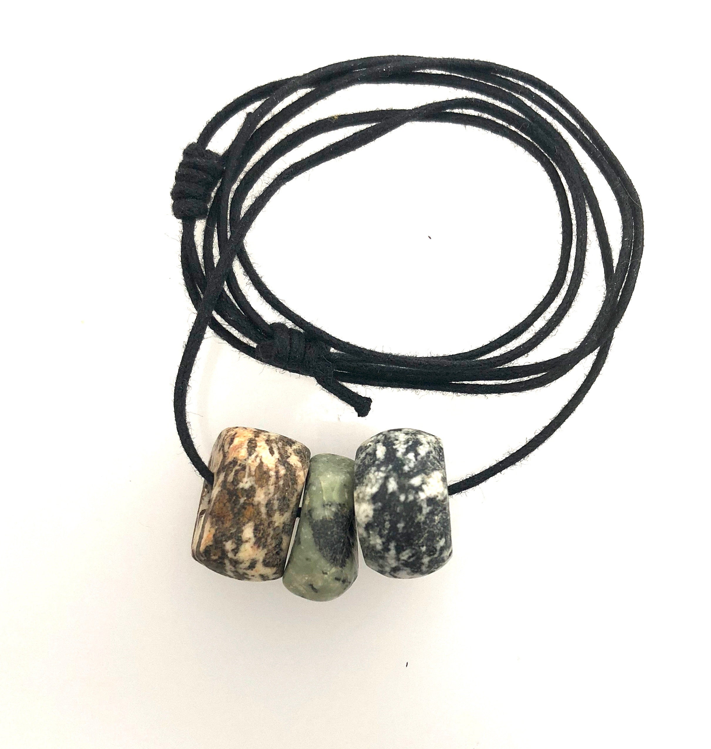 Granite Stones on Two Knot Cord
