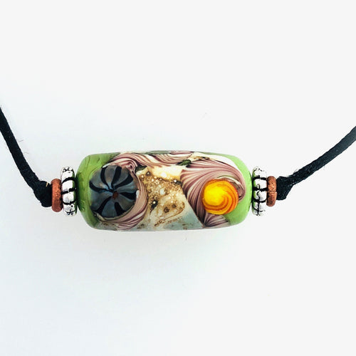 Green Matrix Lampwork Necklace by Kate