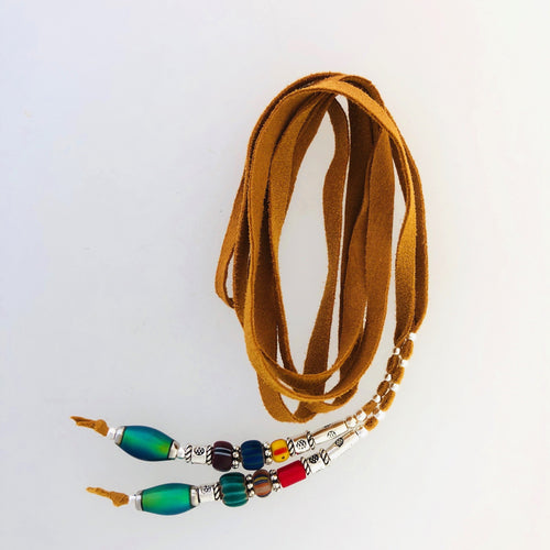 "Fine Leather and Beaded Hair Decoration ""Hair Ties"" 28ins, African Trade Bead, Color Changing-"