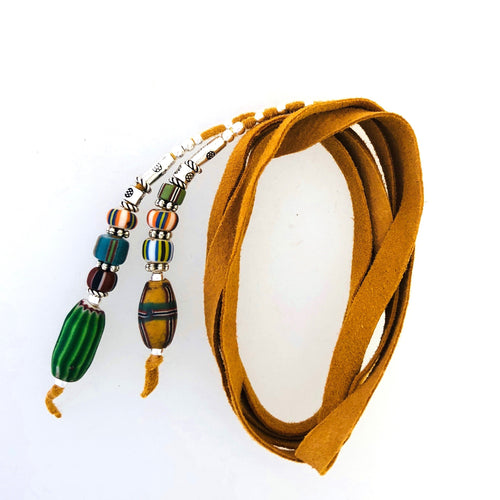 "Fine Leather and Beaded Hair Decoration ""Hair Ties""  28ins African Trade Beads-"