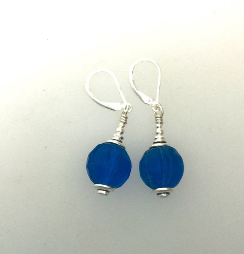 Antique Deep Blue Glass Beads | Earrings