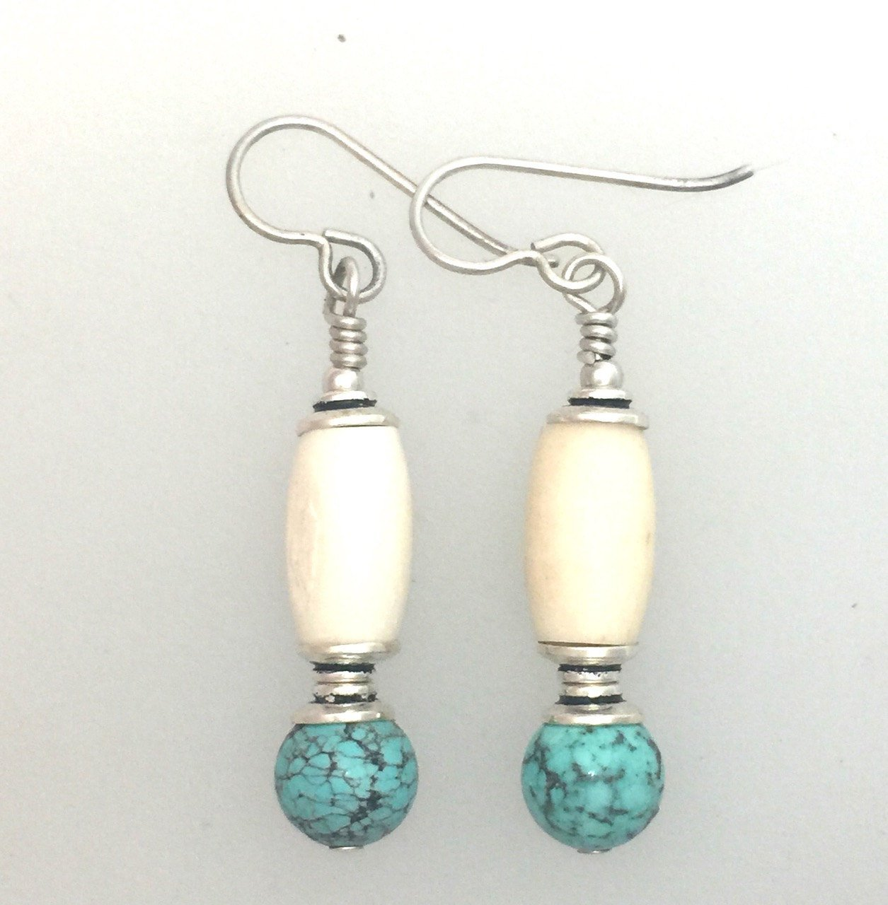 Turquoise and Bone Earrings
