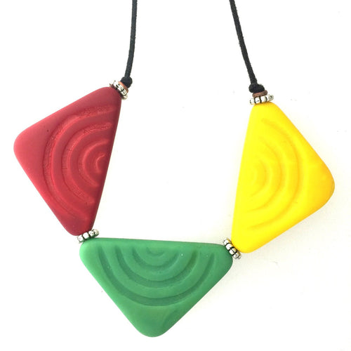 Reggae Glass Traditional African Pendant Necklace