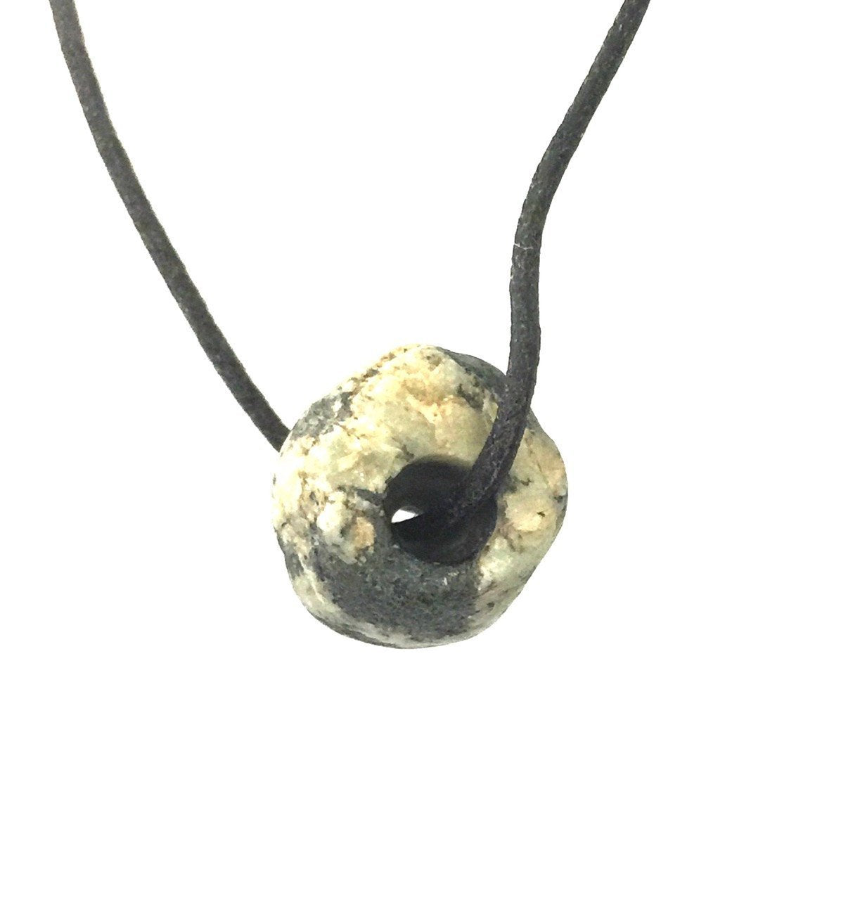 Ancient Granite (Gneiss) Single Bead with Two Knot Cord