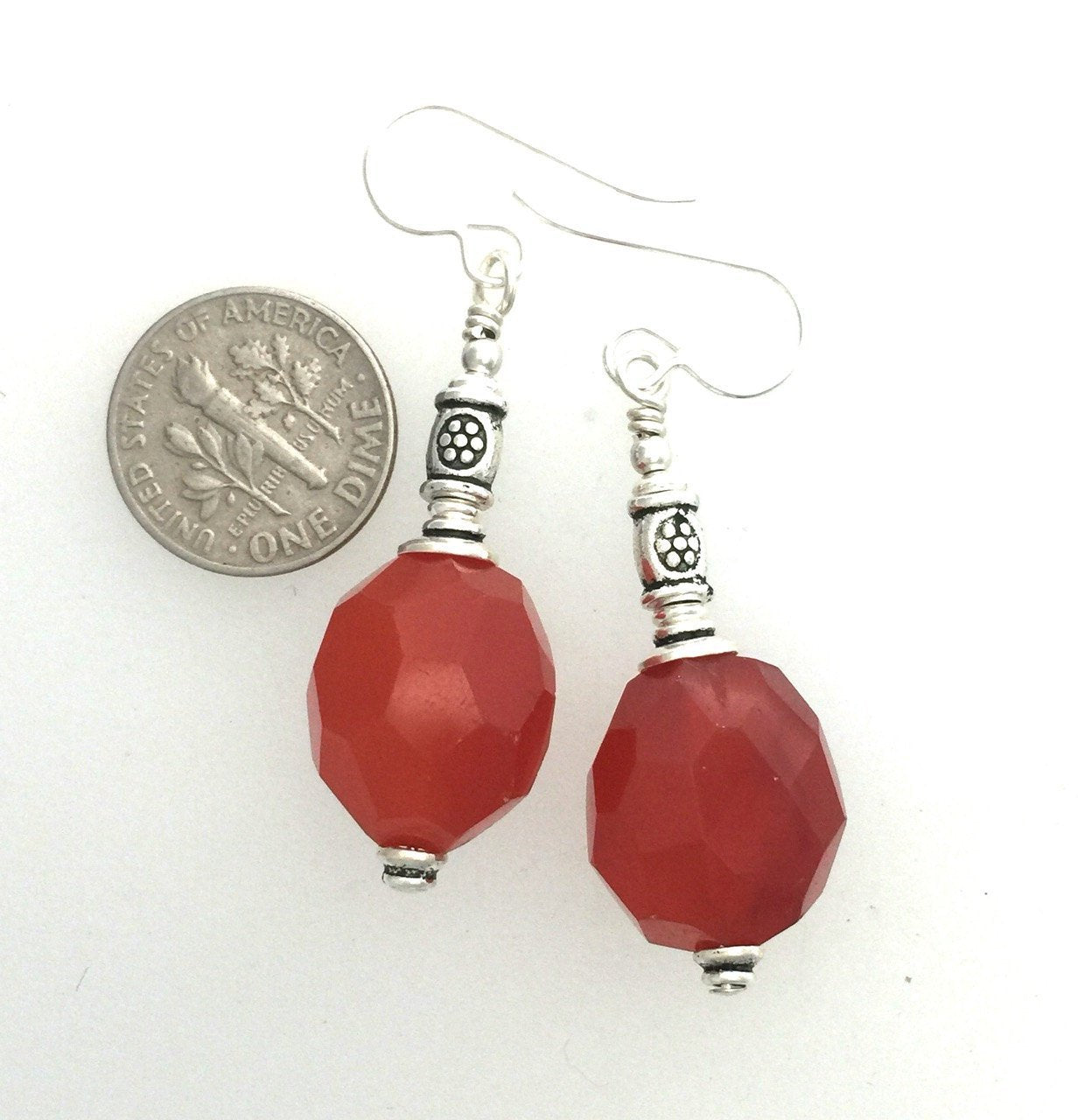Hand Faceted Carnelian n3 | Earrings