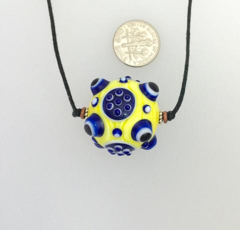 Yellow and Blue Lamp Work Bead Other Artist