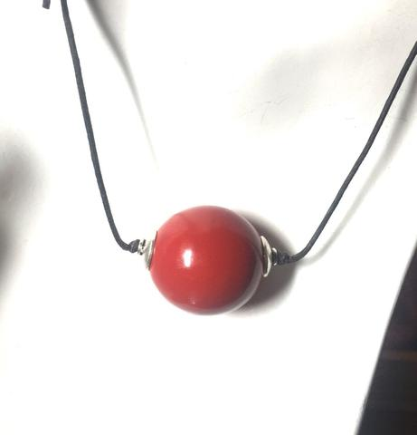 Large Cinnebar Bead Necklace Pendant