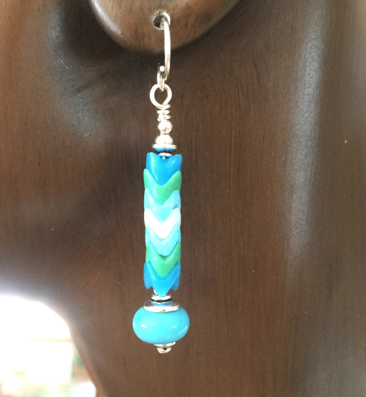 6mm Turquoise and White Snake Glass Bead | Earrings