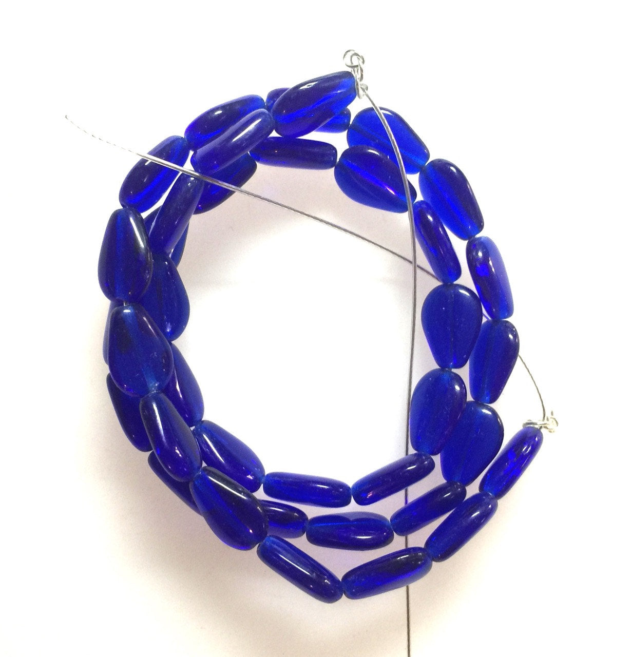 Cobalt Glass Flat Small Drop Shaped Beads Czech Glass Strand