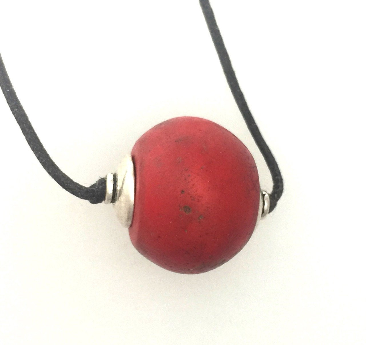 Red Classic Bohemian Pressed Glass Antique Bead Necklace