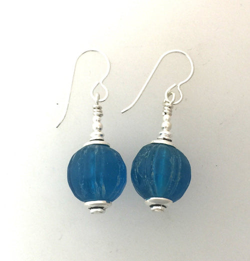 Blue Antique Glass Trade Bead Earrings-