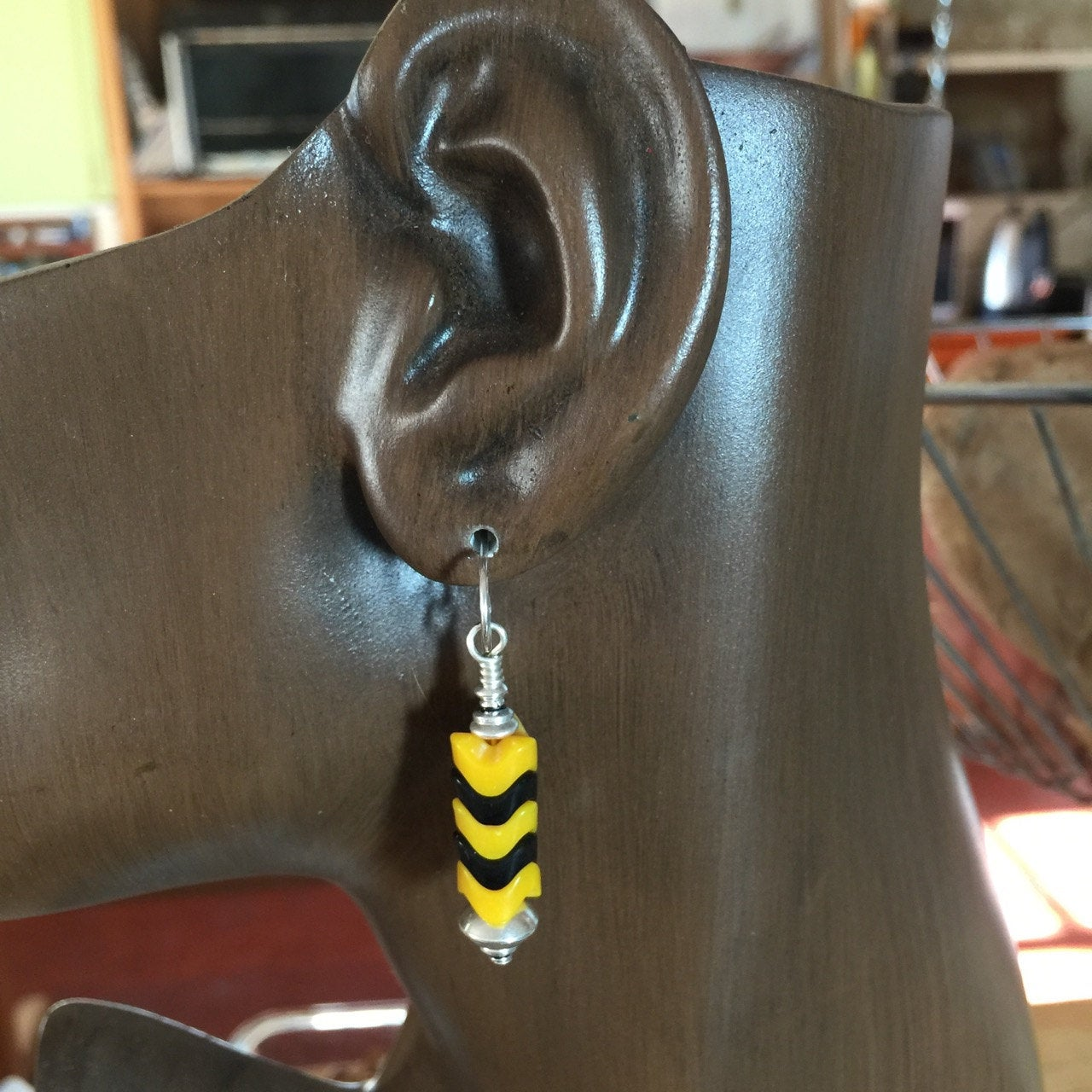 8mm Black and Yellow Bee Snake Glass Beads | Earrings