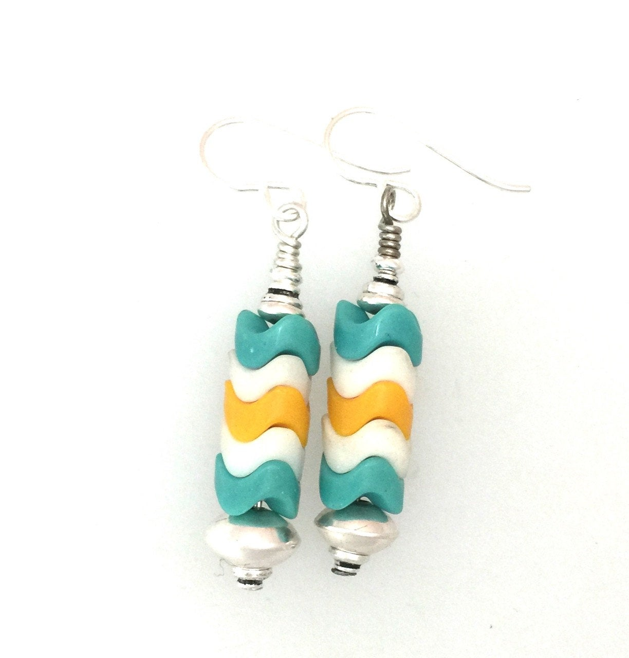 8mm Turquoise White and Yellow Snake Glass Beads | Earrings