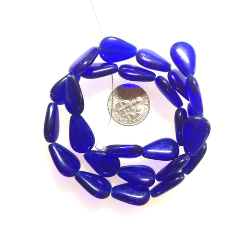 Cobalt Glass Flat Drop Shaped Beads Czech Glass