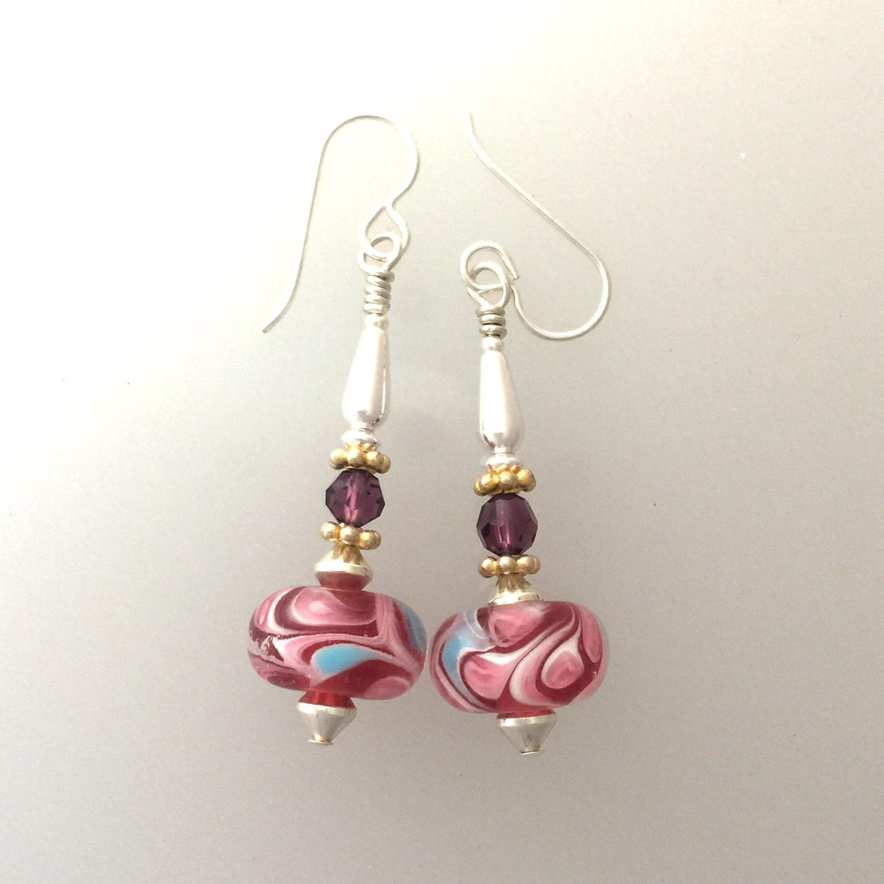 Rose Pink Lamp Work Earrings Wtih Sterling Silver #1