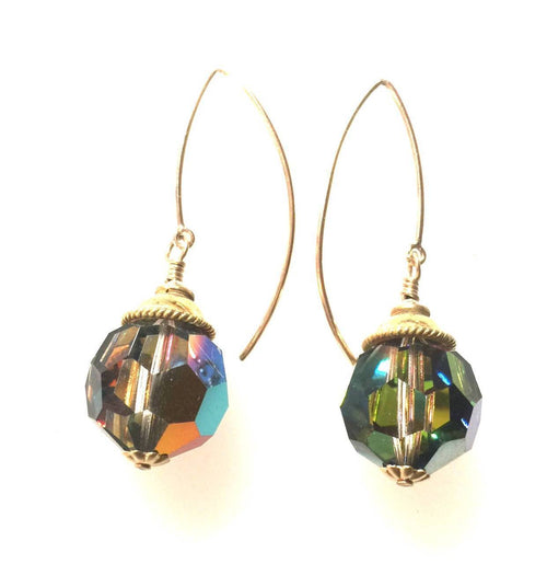 Rare Swarovski Vitrail and 14k Gold Filled Earrings