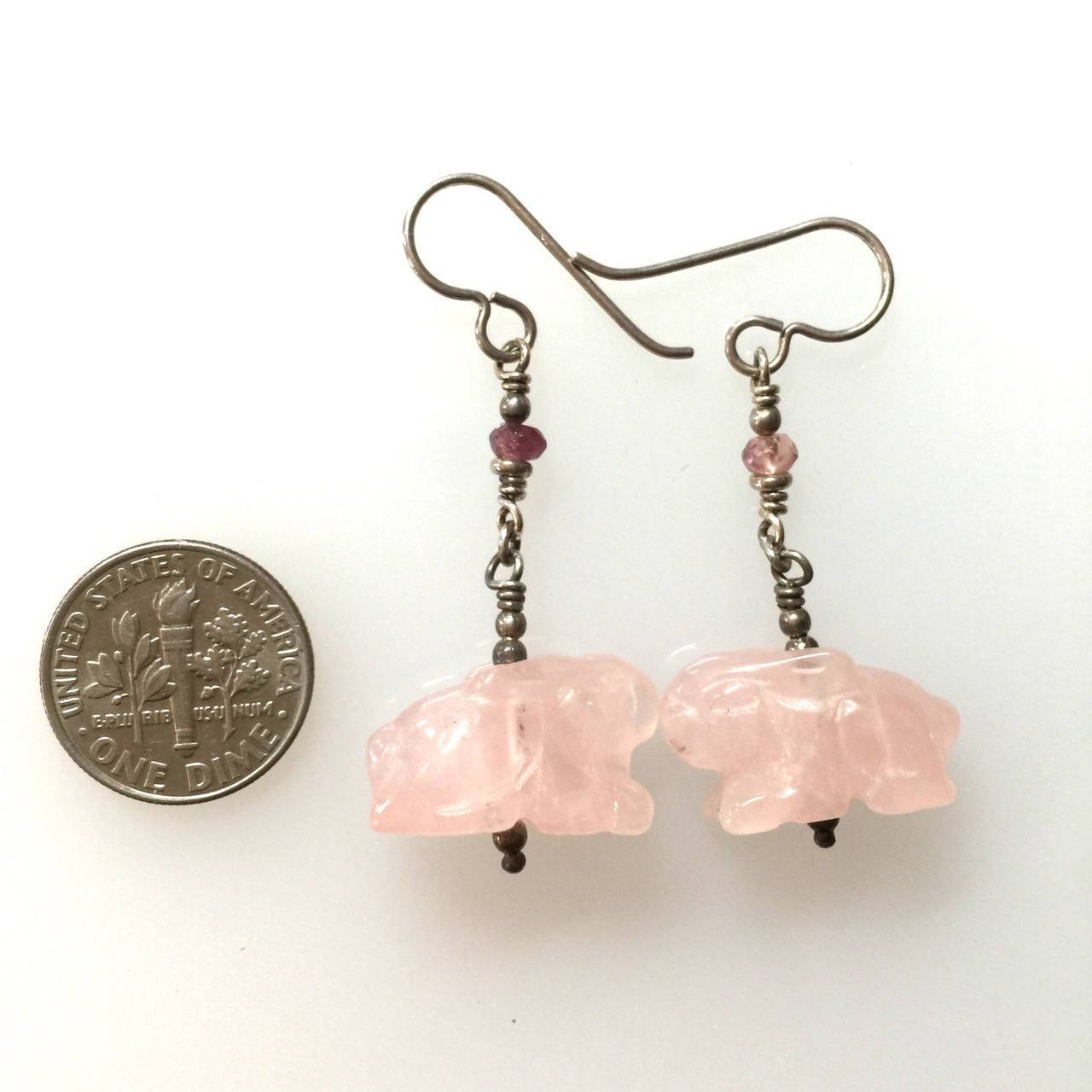 Rose Quartz Carved Rabbit | Earrings