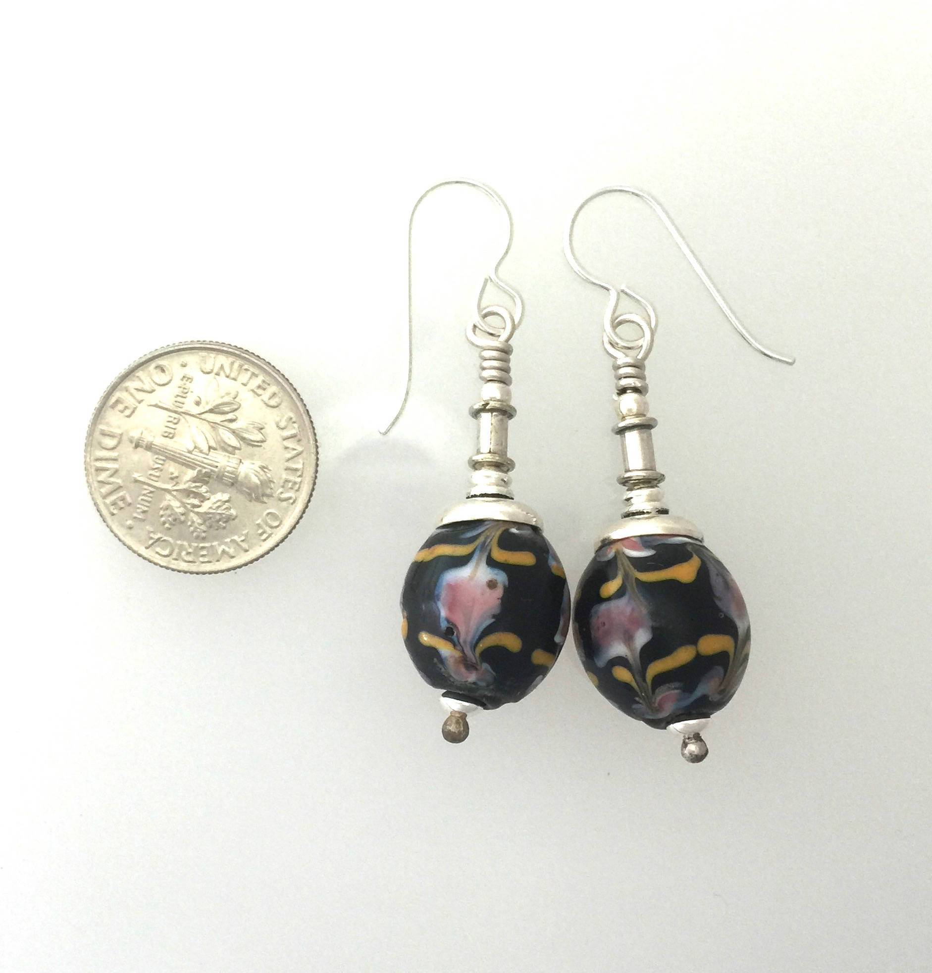 African Trade Bead Earrings Black With Fine Stringer Work