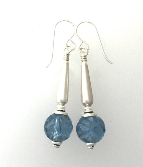 Antique Hand  Carved Blue Peking Glass and Silver Earrings.#5