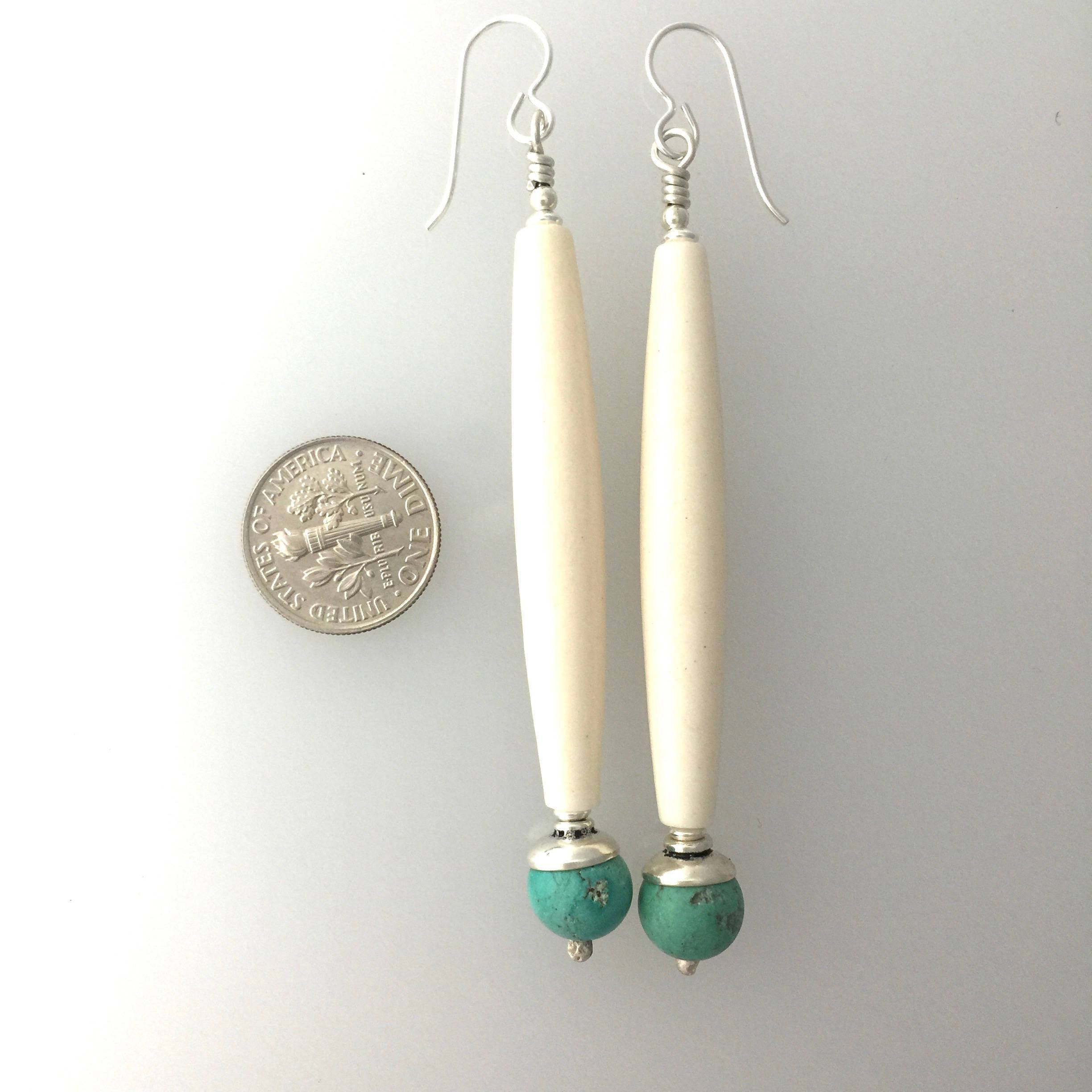 Turquoise, Hairpipe Bone and Sterling Silver Earrings #a