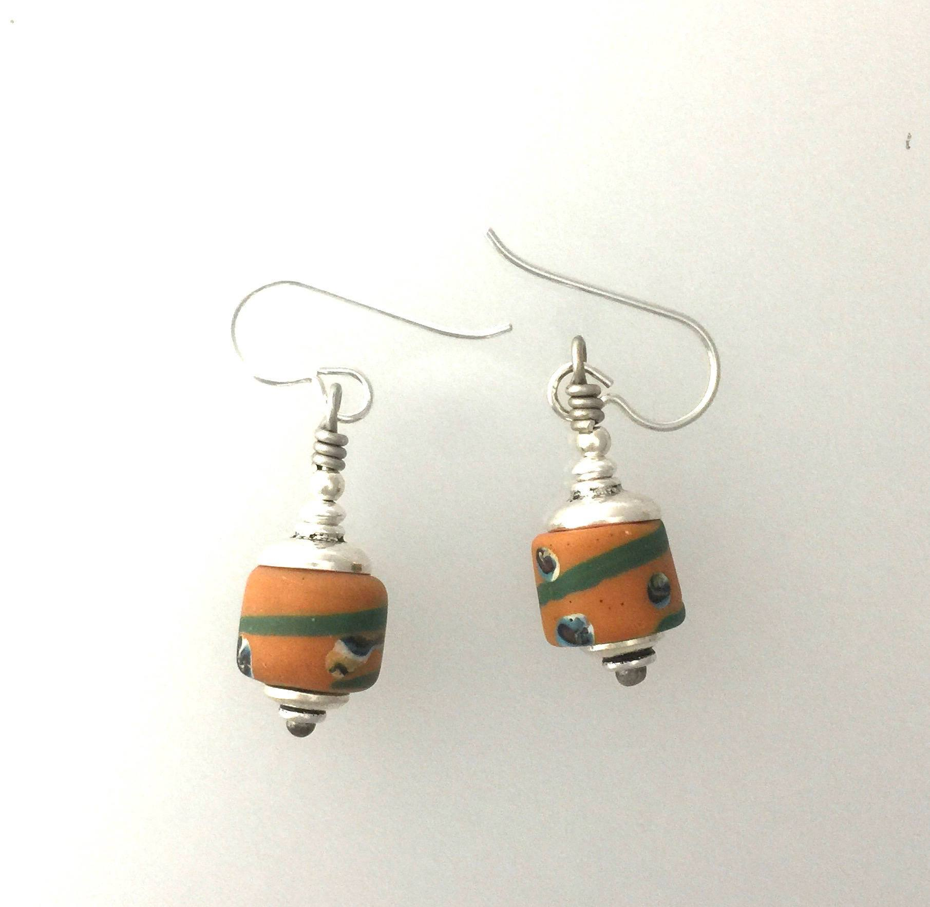 African Trade Bead Earrings Yellow Ochre and Green Glass and Sterling Silver-