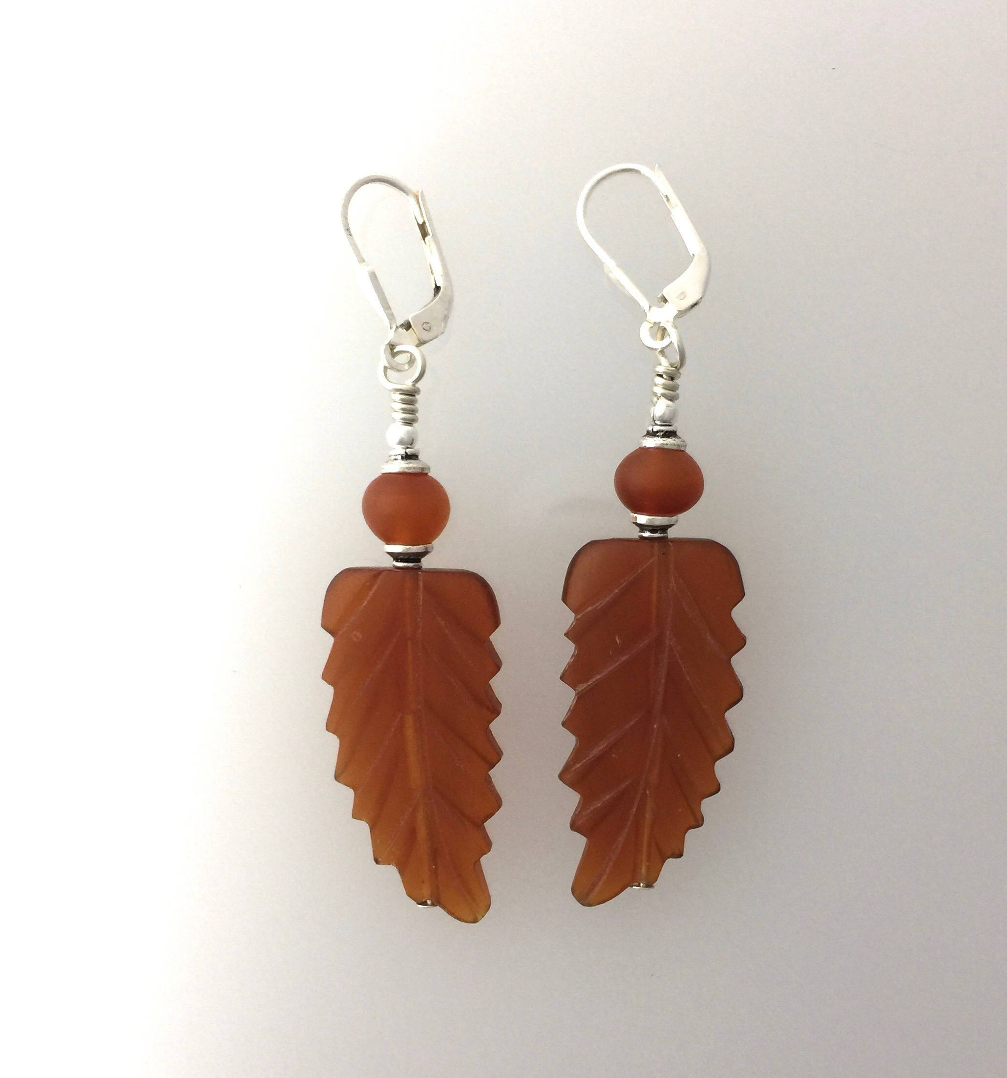 Buffalo Horn Hand Carved Bead Earrings
