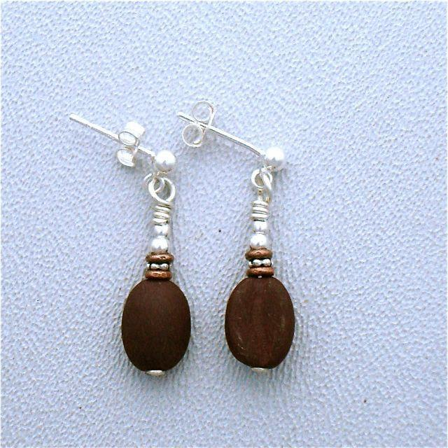Glass Coffee Bean Earrings