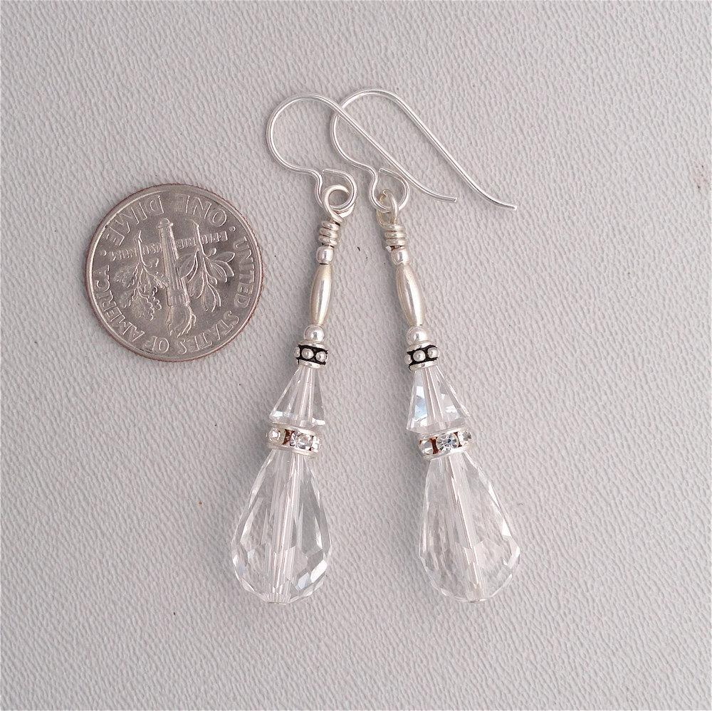 Swarovski Crystal Drops in Sterling Silver
