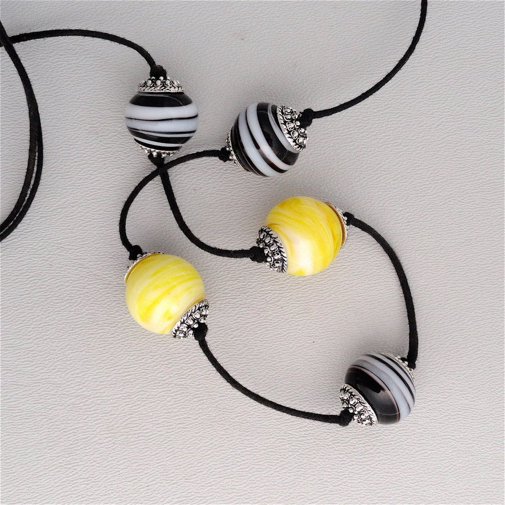 Recycled Lamp Work Bead Necklace Black and Yellow Made in USA