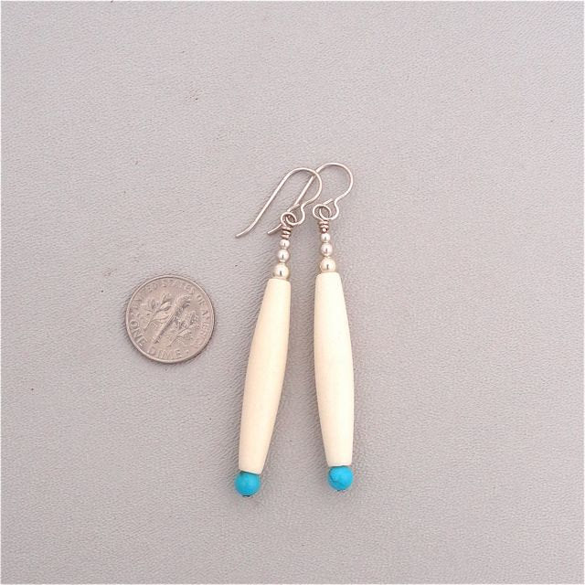 Bone and Turquoise  Sterling Silver Earrings Made in the USA