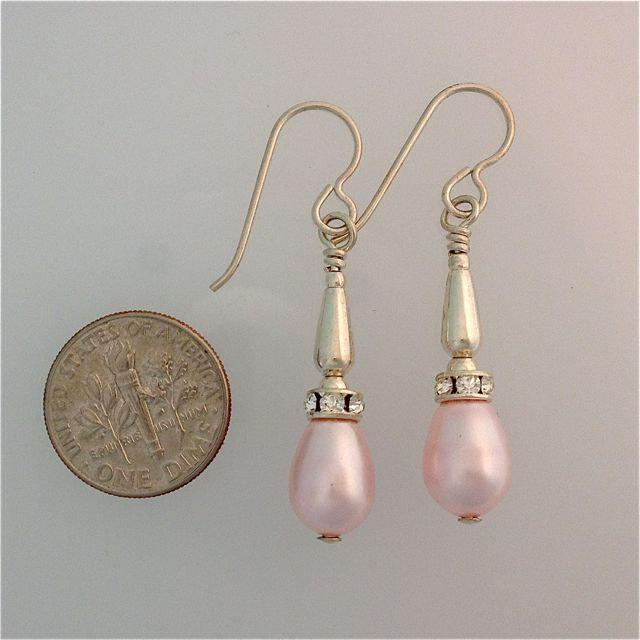 Swarovski Pearl Drop and Rhinestone Earrings in Sterling Silver