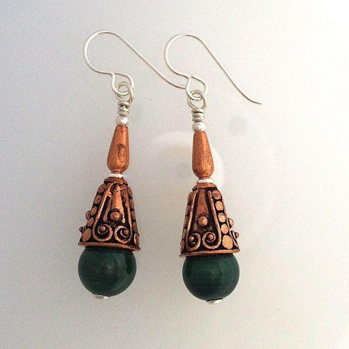Malachite Silver and Copper Earrings