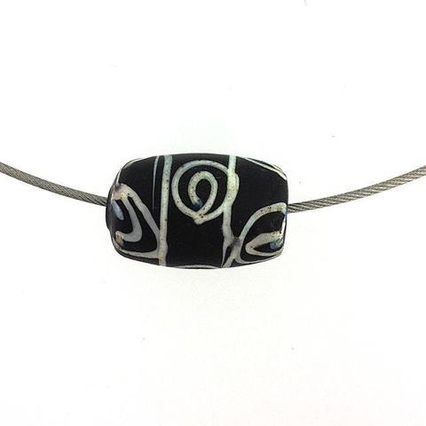 "Black African Trade Bead ""Squiggle "" Bead"