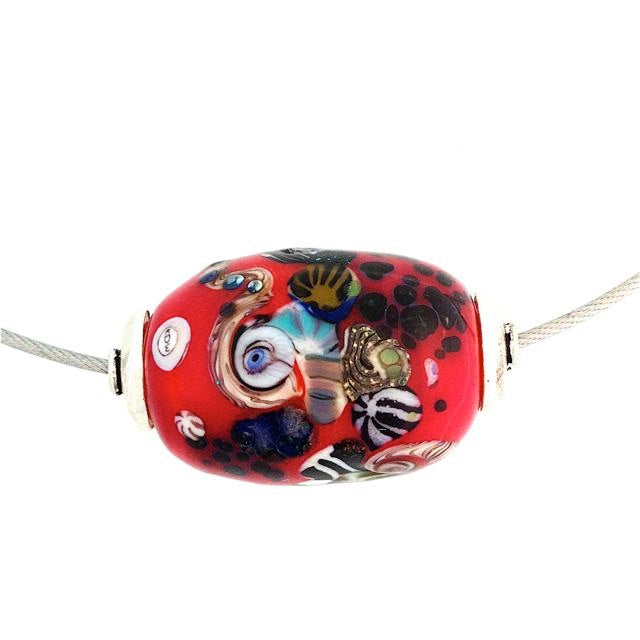 Signed Lamp Work Eye Bead | 18 inch Necklace