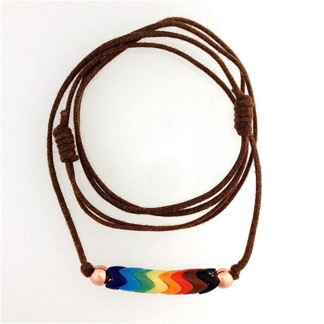 Rainbow Pride Glass Snake Beads on Two Knot Cord | Necklace