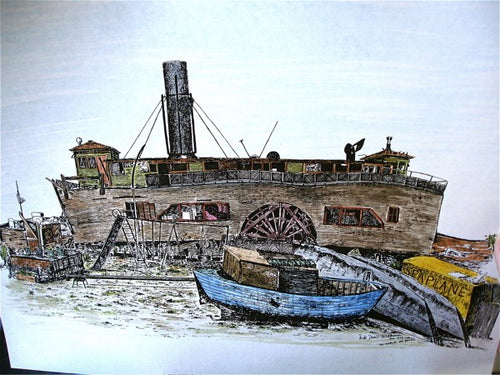 Charles Van Damme Ferry Colored Print by KateD-W