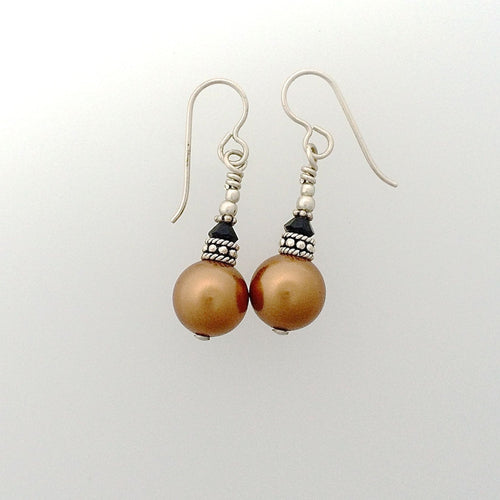 Swarovski Pearl Earrings with Sterling Silver French Hooks