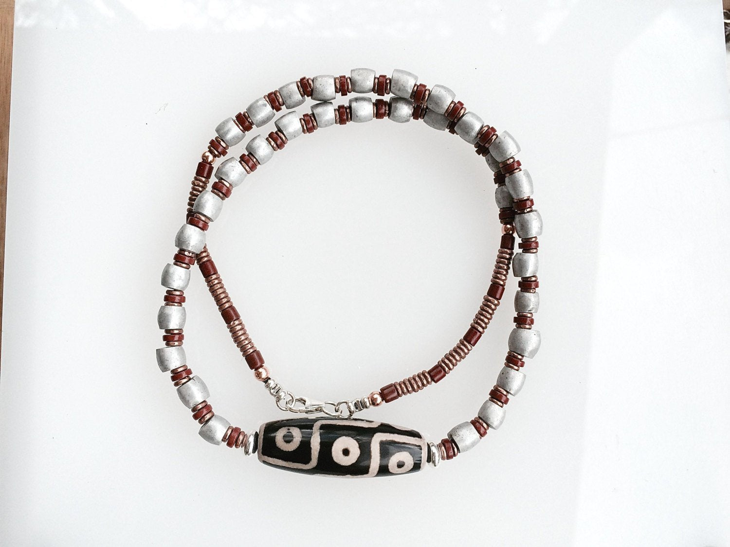 African Trade Bead Necklace with Ethiopian Aluminum Spacers & Dzi Bead