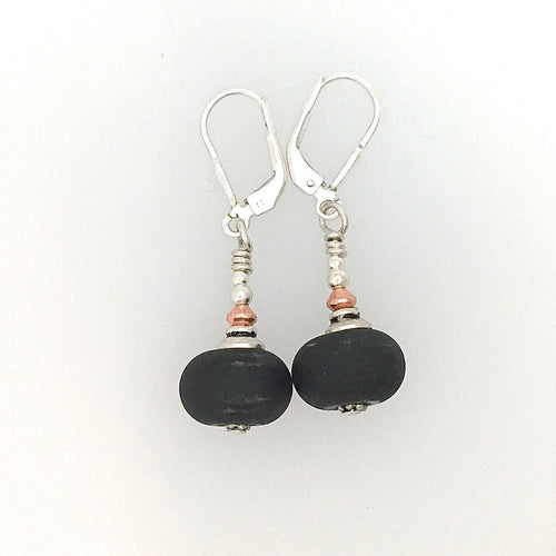 Black Glass and Silver Earrings