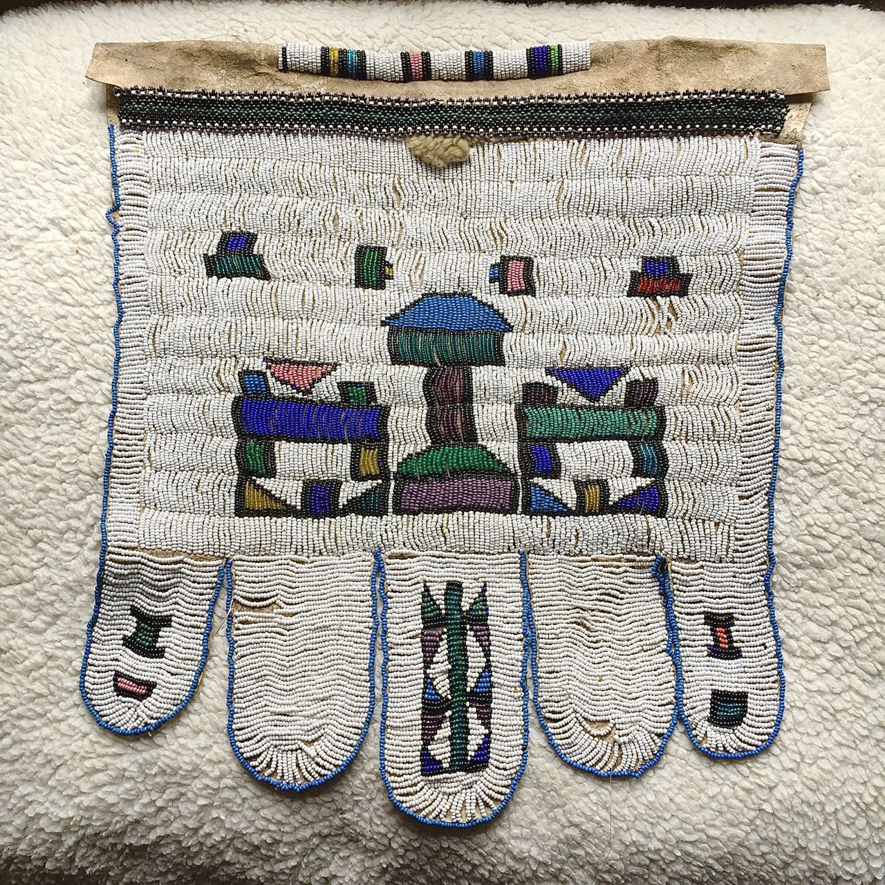 Antique Ndebele Women's Wedding Apron On Goat Skin