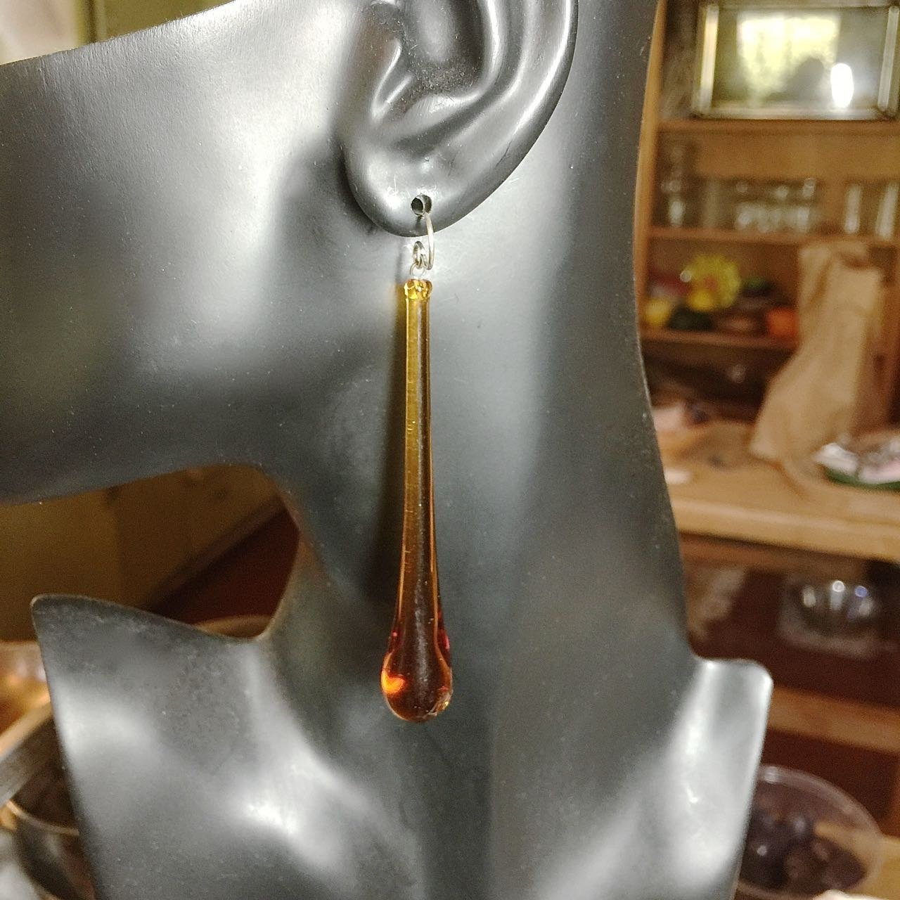 Vintage Amber Glass Drop Earrings