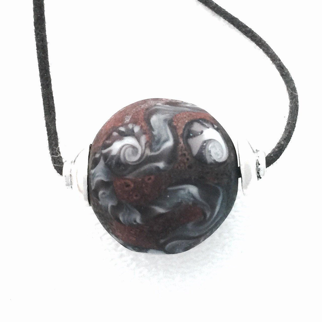 Round Abstract Lampwork Necklace by Kate