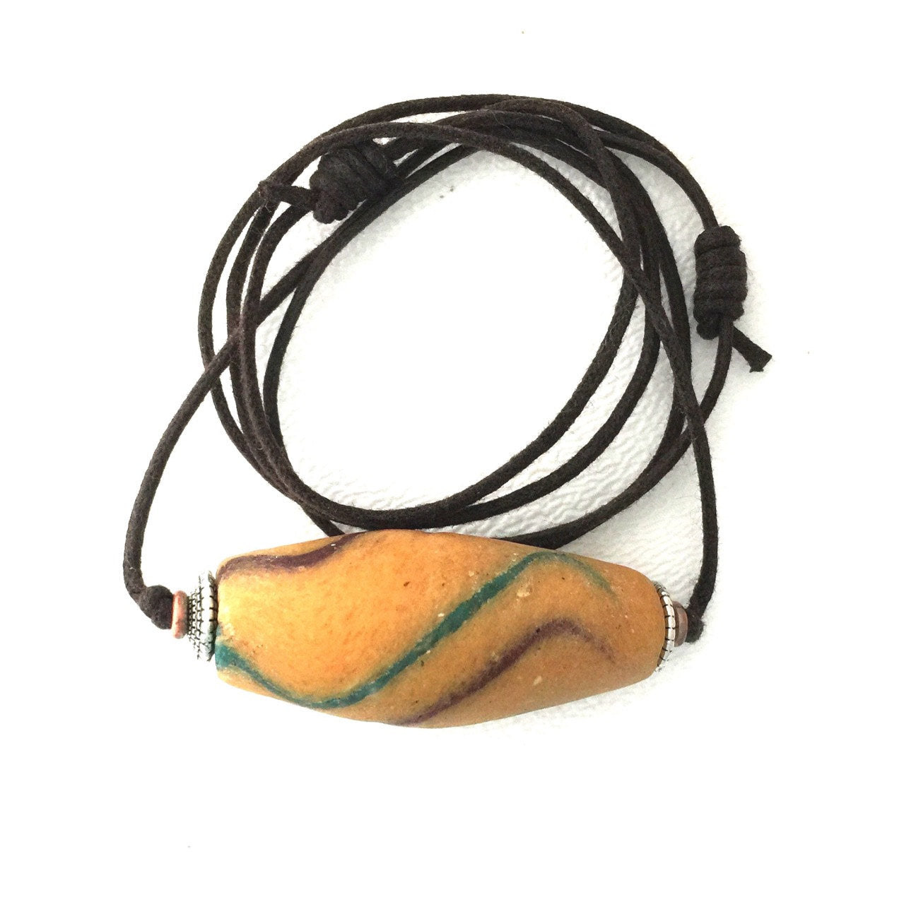 Antique Yellow Akoso Ghanaian Powdered Glass Bead w/ Accents on Two Knot Cord | Necklace