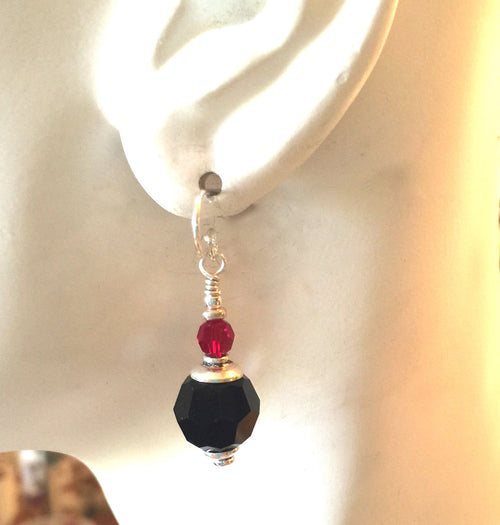Jet Black and Red Swarovski Crystal Earrings 10 MM With Sterling Silver
