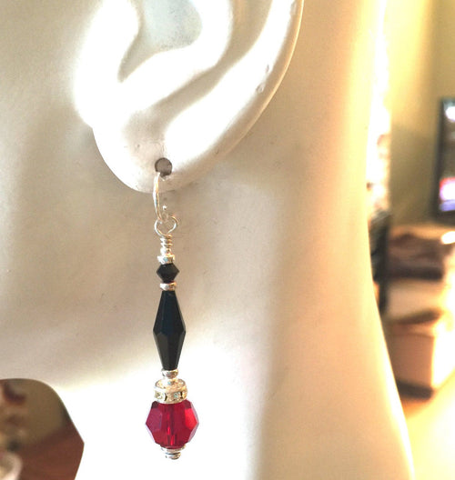 Jet Black and Red  Crystal Earrings  With Sparkle and Sterling Silver