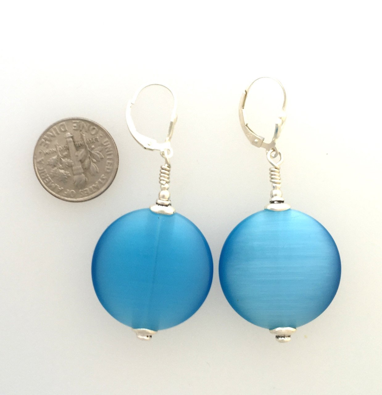 Teal Blue Cat's Eye Bead & Sterling Silver | Earrings